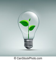 ikone, pflanze, mit, blätter, wachsen, in, a, bulb., mülltrennung, waste., erneuern
