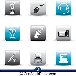ikone, reihe, 8, -, kommunikation