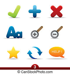 ikone, reihe, -, web, universal