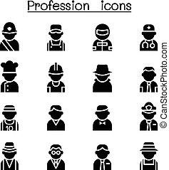 ikone, satz, karriere, &, beruf
