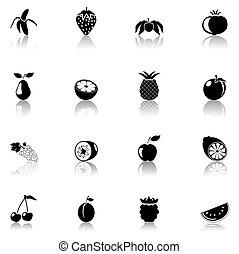 ikone, schwarz, früchte