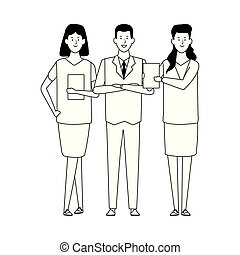 ikone, stehende , gruppe, businesspeople