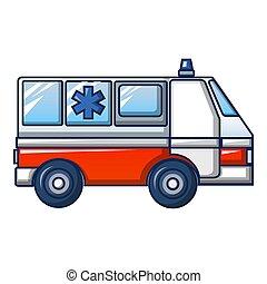 ikone, stil, lastwagen, karikatur, krankenwagen
