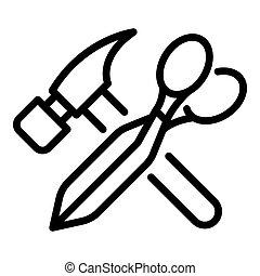 ikone, stil, schere, hammer, schuhreparatur, grobdarstellung