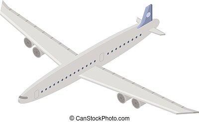 ikone, transportflugzeug, isometrisch, stil