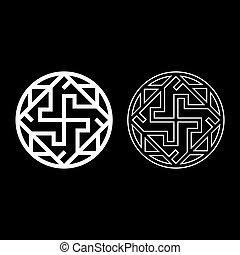 ikone, valkyrie, symbol, abbildung, grobdarstellung, slawisch, bild, satz, stil, vektor, varangian, wohnung, weißes, farbe, valkiriya, zeichen