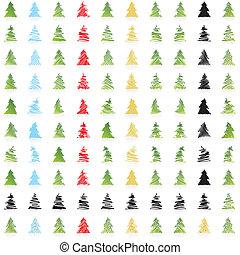 ikone, vektor, weihnachtsbäume
