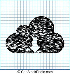 ikone, vektor, wolke, abbildung