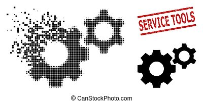 ikone, werkzeuge, zerrissen, pixel, siegel, not, service, ...