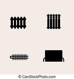 Symbole, zentral, schwarz, heizkörper. Web, zentral,... Vektor ...