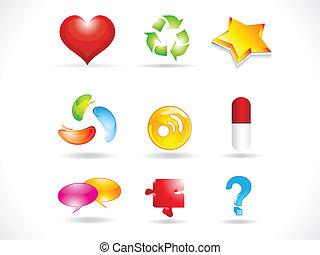 ikonen, abstrakt, glatt, mångfald