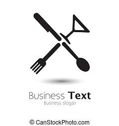 ikonen, abstrakt, sked, glass-, gaffel, vektor, grafisk, &, ...