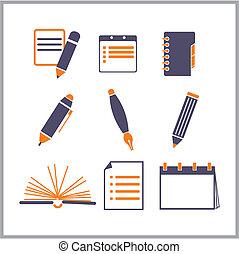 ikonen, av, anteckningsblock, och, blyertspenna