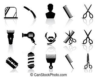 ikonen, barberare, hårklippning, redskapen, sätta