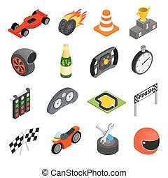 ikonen, bil biltävlingar, isometric, 3