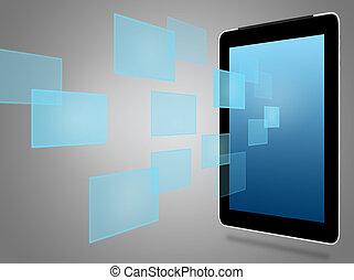 ikonen, dator, kompress, virtuell