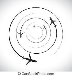 ikonen, dens, airplane, bana, graphic-, vektor, flygning, begrepp