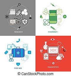 ikonen, design, sätta, medicinskt begrepp