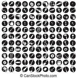 ikonen, doodled, redskapen, kollektion, 121