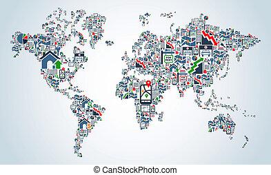 ikonen, egenskap, service, världen kartlägger