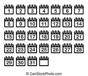 ikonen, enkel, set., månad, vektor, kalender
