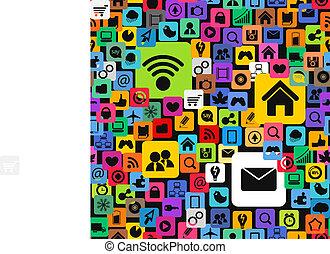 ikonen, färg, media, nymodig, seamless, struktur, social