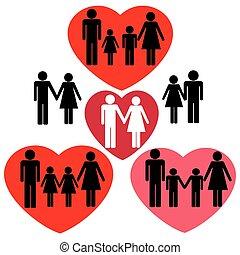 ikonen, familj, heart.