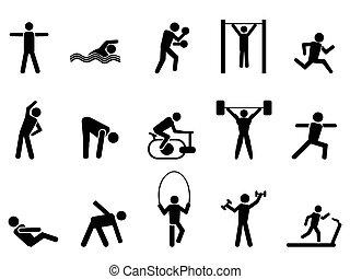 ikonen, folk, svart, sätta, fitness