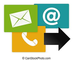ikonen, grafisk, oss, kontakta