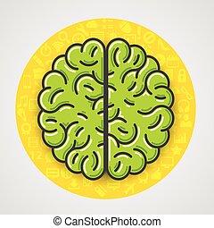 ikonen, gul signera, hjärna, grön, cirkel, tecknad film