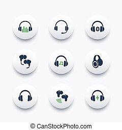 ikonen, hörlurar, earbuds, sätta