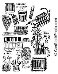 ikonen, hand, oavgjord, barcode