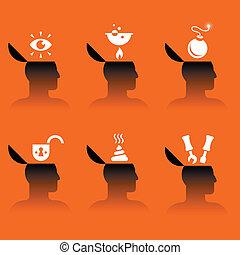 ikonen, huvud, olika, objekt, mänsklig