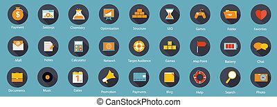 ikonen, illustration, sätta, vektor, lägenhet