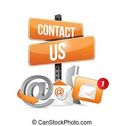 ikonen, illustration, underteckna, kontakt oss, apelsin