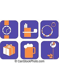 ikonen, inköp, bakgrund, -, sätta, vektor, ;, purpur, gåvor