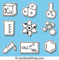 ikonen, kemi, -stickers, tryck, illustration