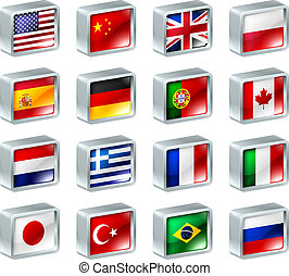 ikonen, knäppas, flagga