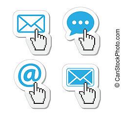 ikonen, kuvert, -, kontakta, email