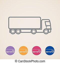 ikonen, lastbil, vektor, frakt