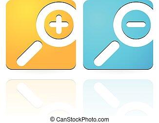 ikonen, lysande, förstorar, in, symbols., zoom, trevlig, ...