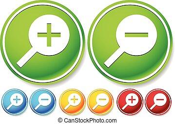 ikonen, lysande, in, zoom, färger, knäppas, ute