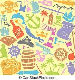 ikonen, mönster, seamless, piratkopierar