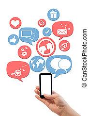 ikonen, mall, smartphone, isolerat, plats, datering, direkt, vit