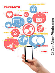 ikonen, mall, text, smartphone, isolerat, plats, datering, direkt, vit