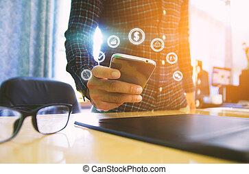ikonen, media, avskärma, hand, ringa, social, toucha, smart