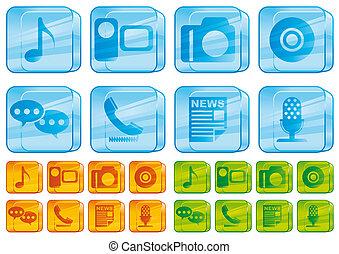 ikonen, media, glas