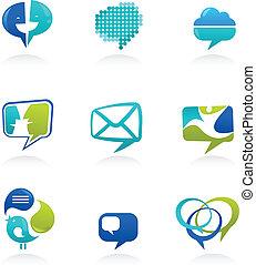 ikonen, media, kollektion, anförande, social, bubblar