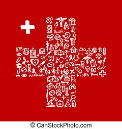 ikonen, medicinsk, kryss gestalta, design, din