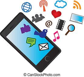 ikonen, mobil, media, ringa, cellformig, social
